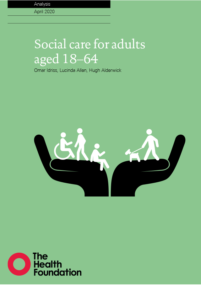 Front cover of social care for adults aged 18-64