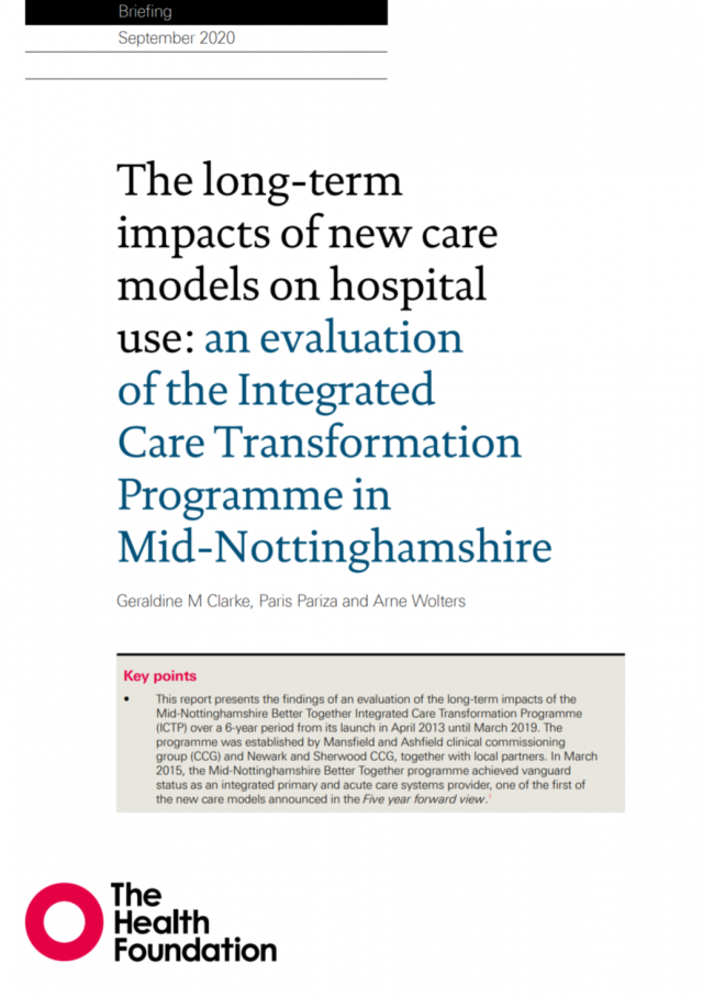 IAU report New Care Models front cover image