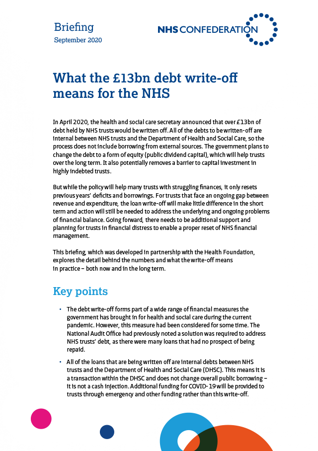 NHS Confederation briefing - NHS debt write-off